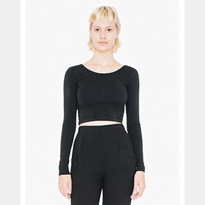Ladies' Cotton Spandex Long Sleeve Crop Top Thumbnail