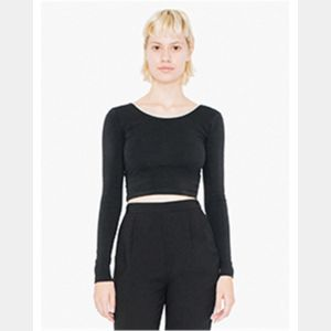 Women's Cotton Spandex L/S Crop Top Thumbnail