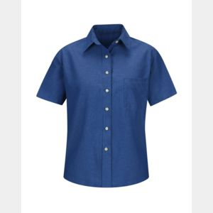 Women's Short Sleeve Oxford Dress Shirt Thumbnail