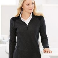 Women's Heathered Quarter Zip Pullover with Colorblocked Shoulders Thumbnail