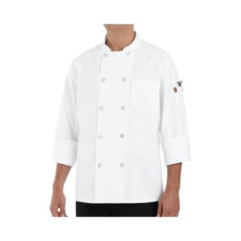 100% Polyester Ten Pearl Button Chef Coat Long Sizes Thumbnail