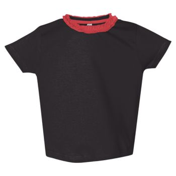 Toddler Girls' Ruffle Neck Fine Jersey Tee Thumbnail